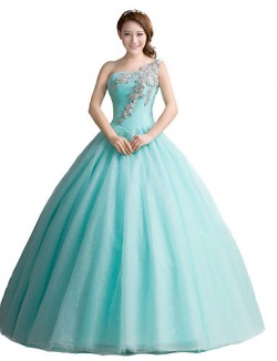New Zealand Formal Evening Dress Ball Gown Sexy One Shoulder Long Floor Length Tulle Dress With Crystal Detailing