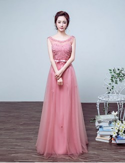 New Zealand Formal Evening Dress Ball Gown Jewel Long Floor Length Satin Tulle With Appliques Bow Pearl Detailing
