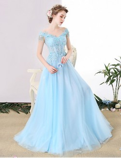 New Zealand Formal Evening Dress A Line Off The Shoulder Long Floor Length Tulle Dress With Beading Lace Sequins