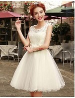 New Zealand Cocktail Party Dresses Prom Dress A Line Scoop Short Mini Lace Tulle With Bow Sash Ribbon