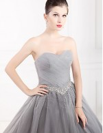 New Zealand Formal Evening Dress Ball Gown Strapless Long Floor Length Tulle Dress Stretch Satin With Crystal Detailing
