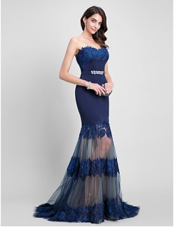 New Zealand Formal Evening Dress Fit Flare Sweetheart Sweep Brush Train Tulle Jersey With Beading Lace Sash Ribbon