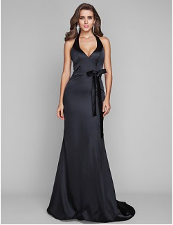New Zealand Formal Evening Dress Military Ball Dress Open Back Plus Size Petite Sheath Column Halter Sweep Brush Train Stretch Satin With Bow