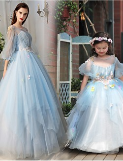 New Zealand Formal Evening Dress A Line Jewel Long Floor Length Tulle Dress Charmeuse With Beading Draping Flower Sequins