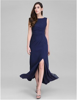 New Zealand Formal Evening Dress Sheath Column Scoop Ankle Length Georgette With Side Draping