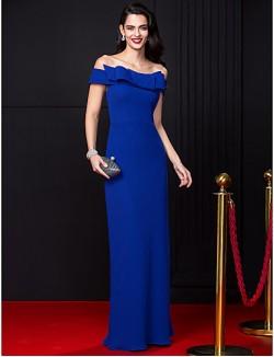 New Zealand Formal Evening Dress Sheath Column Off The Shoulder Long Floor Length Chiffon With Bow