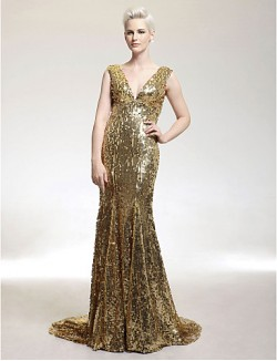 New Zealand Formal Evening Dress Military Ball Dress Elegant Sparkle Shine Plus Size Petite Trumpet Mermaid V Neck Sweep Brush Train Sequined