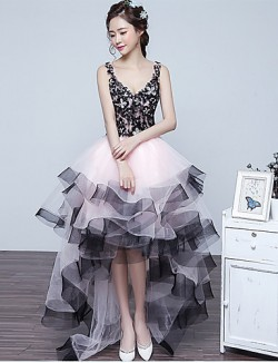 New Zealand Formal Evening Dress Ball Gown V Neck Asymmetrical Lace Tulle With Beading Lace