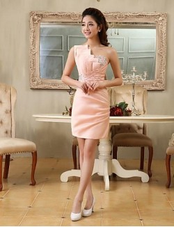 New Zealand Cocktail Party Dress Elegant Sheath Column Sexy One Shoulder Short Mini Satin With Beading Crystal Detailing Side Draping