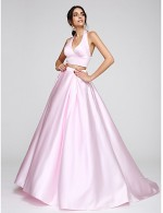 2017 New Zealand Formal Evening Dress A Line Halter Sweep Brush Train Satin With