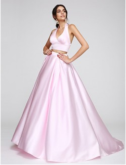 New Zealand Formal Evening Dress A Line Halter Sweep Brush Train Satin With