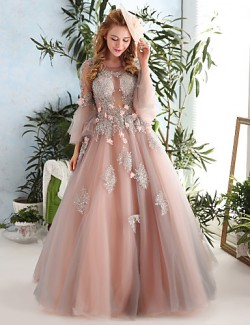 New Zealand Formal Evening Dress Ball Gown Jewel Long Floor Length Lace Dress Tulle With Beading Flower Lace Pattern Print