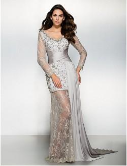 New Zealand Formal Evening Dress Sheath Column V Neck Watteau Train Chiffon Lace With Lace