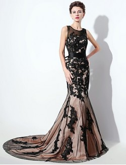 New Zealand Formal Evening Dress Trumpet Mermaid Scoop Court Train Lace With Appliques Bow Lace Sash Ribbon