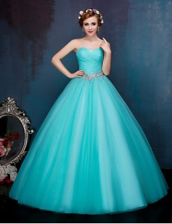 New Zealand Formal Evening Dress Ball Gown Sweetheart Long Floor Length Tulle Dress With Crystal Detailing Draping Side Draping Sequins
