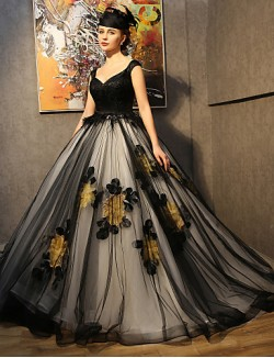 Princess Wedding Dress Court Train Straps Lace Satin Taffeta Tulle With Appliques Flower Lace