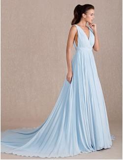 Formeller Abend Kleid Sexy Offener Rücken Elegant A Linie V Ausschnitt Pinsel Schleppe Georgette Mit Seitlich Drapiert