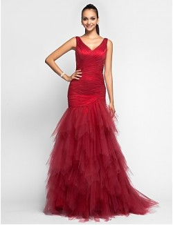 Prom Gowns New Zealand Formal Evening Dress Military Ball Dress Elegant Plus Size Petite Trumpet Mermaid V Neck Sweep Brush Train Tulle With Ruffles