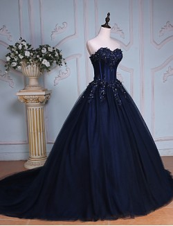 New Zealand Formal Evening Dress Ball Gown Sweetheart Chapel Train Lace Tulle With Beading Crystal Detailing Embroidery Lace Sequins