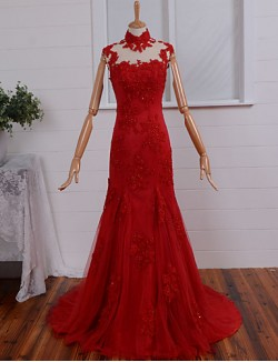 New Zealand Formal Evening Dress Fit Flare High Neck Court Train Tulle With Appliques Beading Buttons
