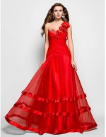 Prom Gowns New Zealand Formal Evening Dress Military Ball Dress Floral Plus Size Petite A Line Princess Sexy One Shoulder Sweetheart Long Floor Length Organza