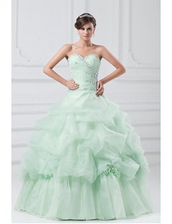 New Zealand Formal Evening Dress Ball Gown Sweetheart Long Floor Length Organza With Crystal Detailing Flower Pleats
