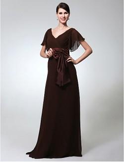 New Zealand Formal Evening Dress Military Ball Dress Elegant Plus Size Petite Sheath Column V Neck Long Floor Length Chiffon With Bow Sash Ribbon