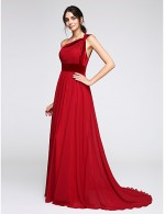 2017 New Zealand Formal Evening Dress A Line Sexy One Shoulder Sweep Brush Train Chiffon Velvet With Side Draping
