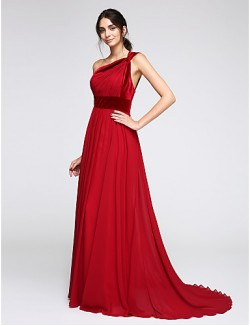 New Zealand Formal Evening Dress A Line Sexy One Shoulder Sweep Brush Train Chiffon Velvet With Side Draping