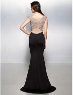 New Zealand Formal Evening Dress Black Tie Gala Dress Beautiful Back Trumpet Mermaid V Neck Sweep Brush Train Jersey With Beading