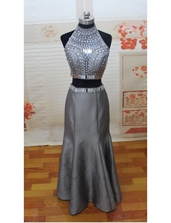 New Zealand Formal Evening Dress Two Pieces Trumpet Mermaid High Neck Long Floor Length Satin With Crystal Detailing Pearl Detailing