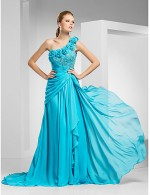 New Zealand Formal Evening Dress Military Ball Dress Vintage Inspired Elegant Plus Size Petite A Line Princess Sexy One Shoulder Sweep Brush Train