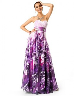 Prom Gowns New Zealand Formal Evening Dress Military Ball Dress Floral Plus Size Petite A Line Princess Strapless Sweetheart Long Floor Length Chiffon With