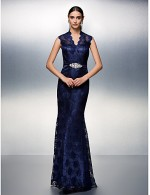 Prom Gowns New Zealand Formal Evening Dress Black Tie Gala Dress Plus Size Petite Sheath Column V Neck Long Floor Length Lace Dress With Beading
