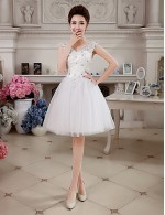 New Zealand Cocktail Party Dresses Prom Dress Sparkle Shine Lace Up Ball Gown V Neck Short Knee Length Lace Tulle WithAppliques Beading Crystal