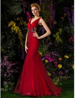Prom Gowns New Zealand Formal Evening Dress Military Ball Dress See Through Plus Size Petite Trumpet Mermaid V Neck Sweep Brush Train Lace Tulle