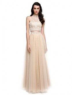 New Zealand Formal Evening Dress Sheath Column High Neck Long Floor Length Satin Tulle With Beading Pearl Detailing