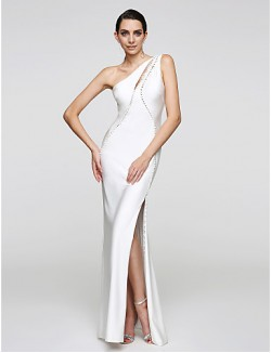 New Zealand Formal Evening Dress Trumpet Mermaid Sexy One Shoulder Long Floor Length Jersey With Buttons