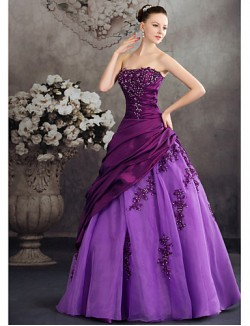 New Zealand Formal Evening Dress Ball Gown Strapless Long Floor Length Taffeta With Appliques Beading Side Draping