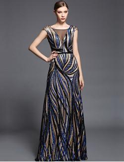 New Zealand Formal Evening Dress Sheath Column V Neck Long Floor Length Charmeuse Sequined With Beading Sash Ribbon Sequins