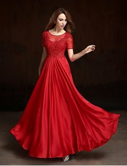 Prom Gowns New Zealand Formal Evening Dress A Line Jewel Long Floor Length Charmeuse With Appliques Beading Crystal Detailing Flower Sequins