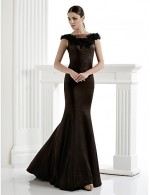 New Zealand Formal Evening Dress Plus Size Petite Trumpet Mermaid Scoop Long Floor Length Knit With Appliques