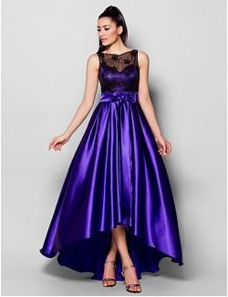 New Zealand Formal Evening Dress Plus Size Petite A Line Bateau Asymmetrical Stretch Satin With Beading Bow Lace Sash Ribbon