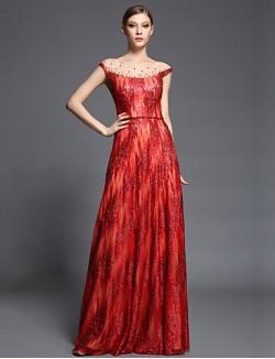 New Zealand Formal Evening Dress Sheath Column Bateau Long Floor Length Tulle Dress Charmeuse Sequined With Beading