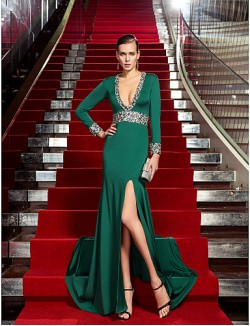 New Zealand Formal Evening Dress Vintage Inspired Plus Size Petite Sheath Column V Neck Sweep Brush Train Jersey With Crystal Detailing