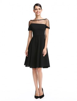 New Zealand Cocktail Party Dress A Line Bateau Short Knee Length Jersey With