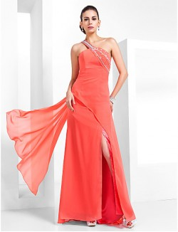 Prom Gowns New Zealand Formal Evening Dress Military Ball Dress Vintage Inspired Elegant Plus Size Petite Sheath Column Sexy One Shoulder Long Floor Length