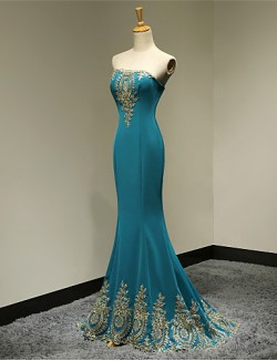New Zealand Formal Evening Dress Military Ball Dress Elegant Lace Up Trumpet Mermaid Strapless Long Floor Length Satin With Appliques