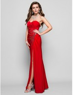 Prom Gowns New Zealand Formal Evening Dress Military Ball Dress Open Back Sheath Column Strapless Sweetheart Long Floor Length Jersey WithCrystal Detailing