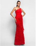 Prom Gowns New Zealand Formal Evening Dress Military Ball Dress Floral Plus Size Petite Trumpet Mermaid Sexy One Shoulder Long Floor Length Chiffon Lace With